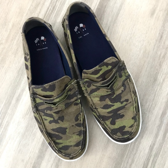 6a4e23d39d3 Cole Haan Other - Cole Haan Nantucket Camo Slip On Canvas Loafers